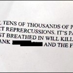 Part of Threatening Letter/fbi photo
