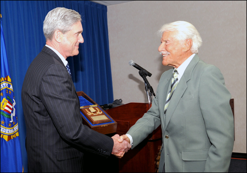 Dir. Mueller Honors Efrem Zimbalist Jr./fbi photo