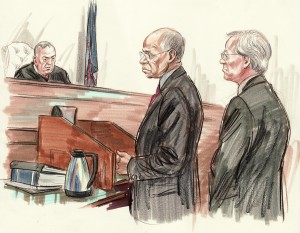 Jefferson stands next to attorney Robert Trout during sentencing /Sketch by Art Lien/NBC News
