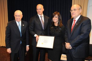 Former US Attorney General Michael Mukasey, FBI Assistant Director in Charge (ADIC) Joseph Demarest Devorah Halberstam and the Honorable Rudolph Giuliani, Former Mayor of New York. Photo credit: Matthew Coleman, FBI