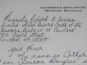 Letter from Catherine Zeta-Jones