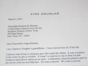 Kirk Douglas letter to judge/ticklethewire.com photo