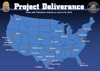 "Cities with ""takedown activities"" June 9 and 10, 2010/doj"