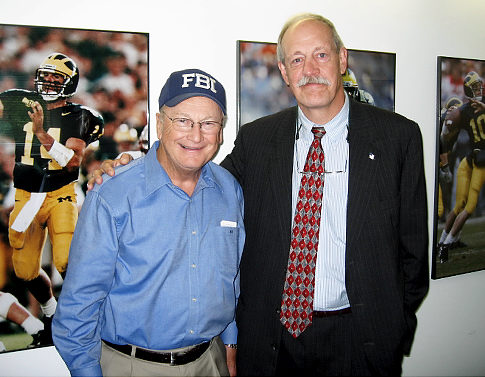 The author (right) Greg Stejsal and Michigan coach Bo Schembechler