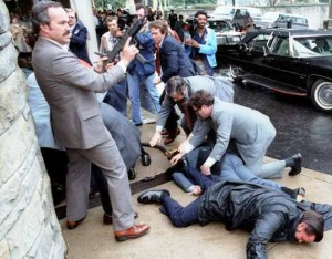 President Reagan assassination attempt, via Wikipedia.