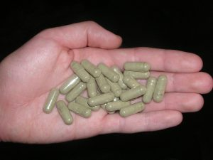 Kratom pill, via Wikipedia.