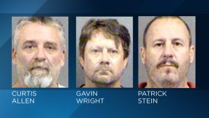 Three men accused of plotting to blow up an apartment building where Muslims lived.