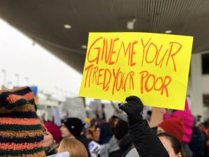 Protest at Detroit Metro Airport over President Trump's travel ban. Photo by Steve Neavling.