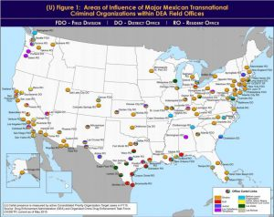Map of cartels identified by the DEA.