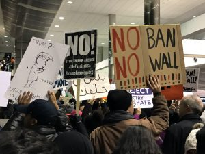 Protest at Detroit Metropolitan Airport. Photo by Steve Neavling.