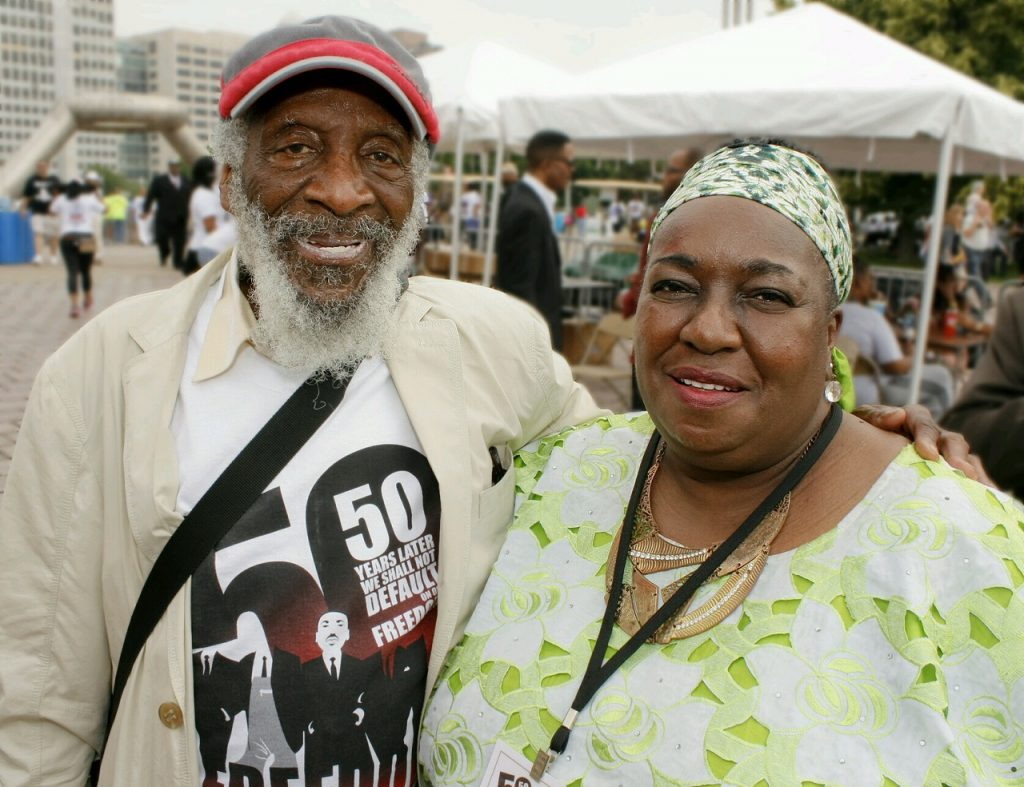 Dick Gregory, left, JoAnn Watson, right.