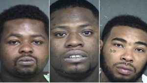 Jason Trevillion, 32, Ernest Jones, 27, and Arthur Mitchell, 25, have been charged with aggravated assault with a deadly weapon against a police officer.